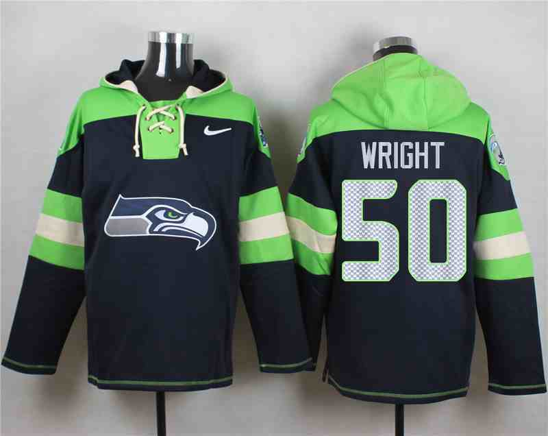 Nike Seahawks 50 K.J. Wright Navy Hooded Jersey