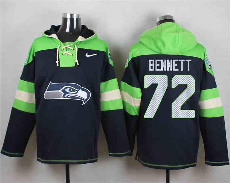 Nike Seahawks 72 Michael Bennett Navy Hooded Jersey