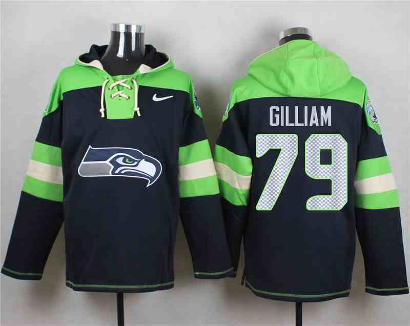 Nike Seahawks 79 Garry Gilliam Navy Hooded Jersey