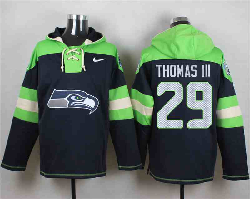 Nike Seahawks 29 Earl Thomas III Navy Hooded Jersey