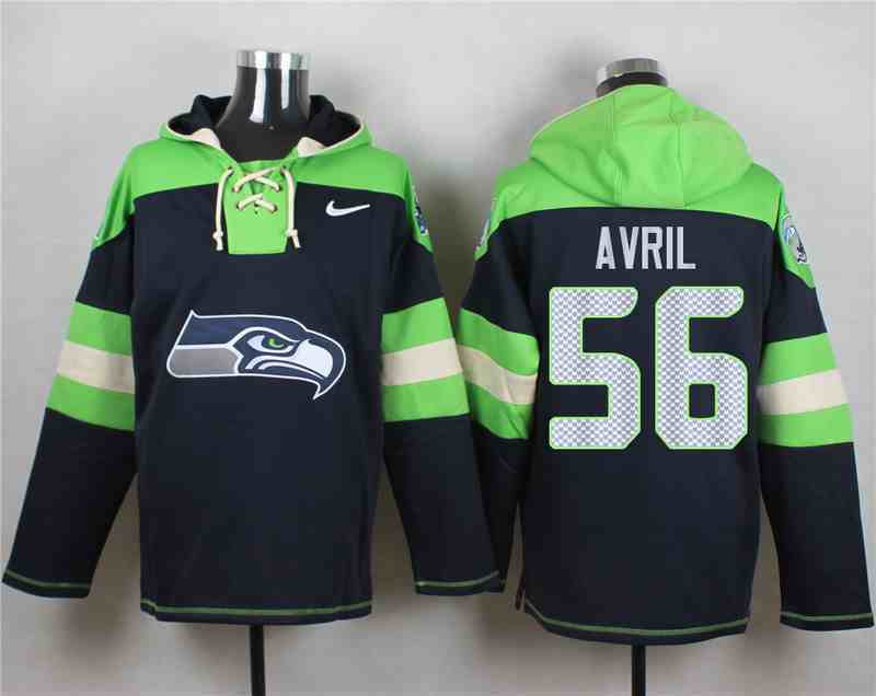 Nike Seahawks 56 Cliff Avril Navy Hooded Jersey