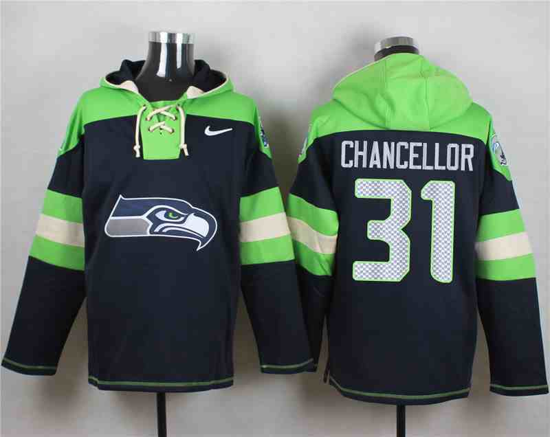Nike Seahawks 31 Kam Chancellor Navy Hooded Jersey