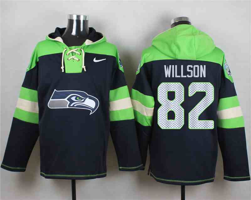 Nike Seahawks 82 Luke Willson Navy Hooded Jersey