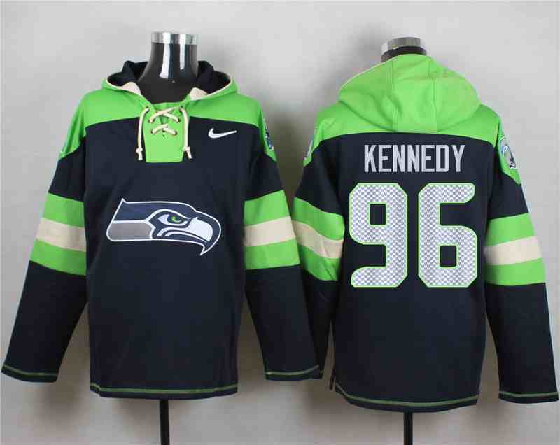 Nike Seahawks 96 KENNEDY Navy Hooded Jersey