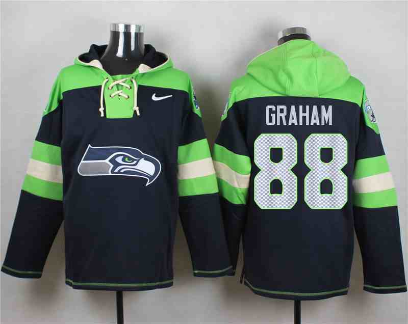 Nike Seahawks 88 Jimmy Graham Navy Hooded Jersey