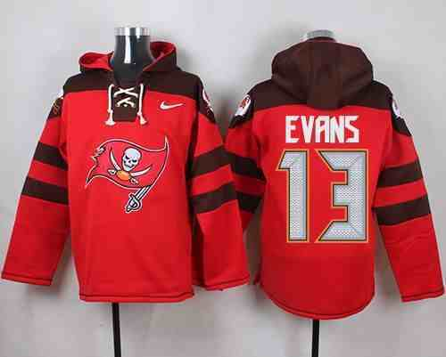 Nike Buccaneers 13 Mike Evans Red Hooded Jersey
