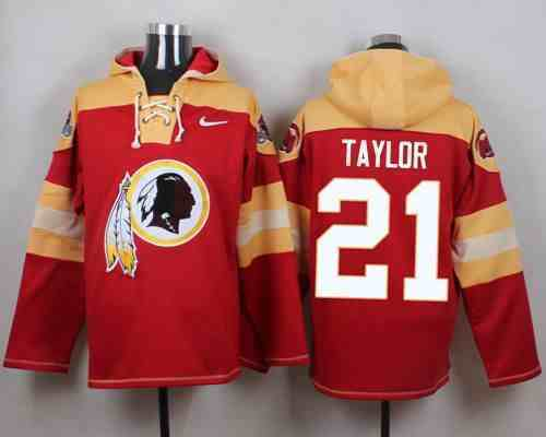 Nike Redskins 21 Sean Taylor Red Hooded Jersey