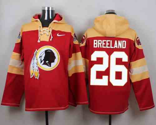 Nike Redskins 26 Bashaud Breeland Red Hooded Jersey
