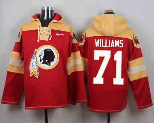 Nike Redskins 71 Trent Williams Red Hooded Jersey