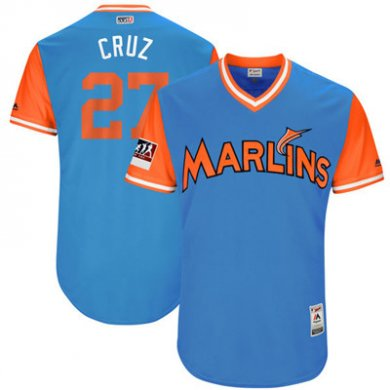 Marlins #27 Giancarlo Stanton Cruz Light Blue 2018 Players Weekend Authentic Team Jersey