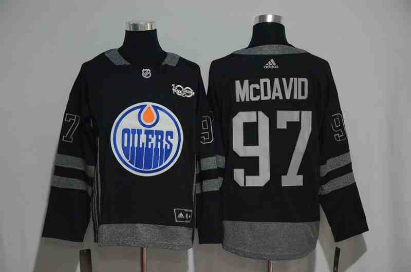 Oilers 97 Connor McDavid Black 1917-2017 100th Anniversary Adidas Jersey