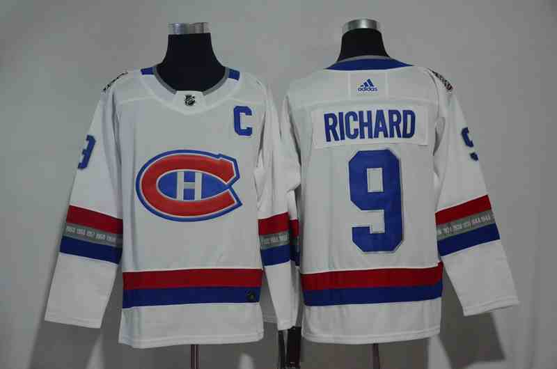 Canadiens 9 Maurice Richard White 2017 NHL 100 Classic Adidas Jersey