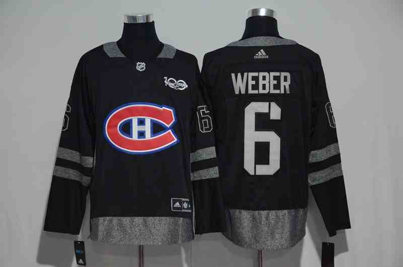 Canadiens 6 Shea Weber Black 1917-2017 100th Anniversary Jersey