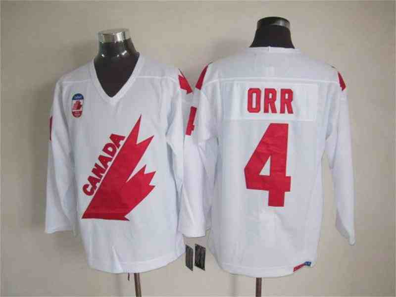 Canada 4 Orr White Throwback Jersey