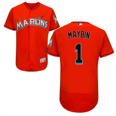 marlins #1 Cameron Maybin Orange Flexbase Authentic Collection Stitched Baseball Jersey