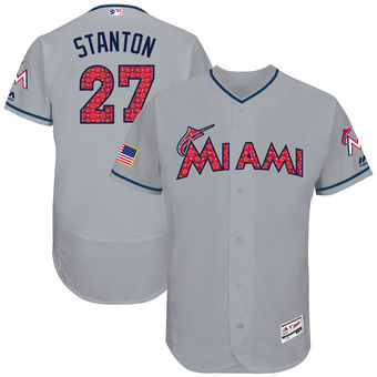 Miami Marlins Giancarlo Stanton Majestic Fashion Stars Stripes FlexBase Player Jersey Gray