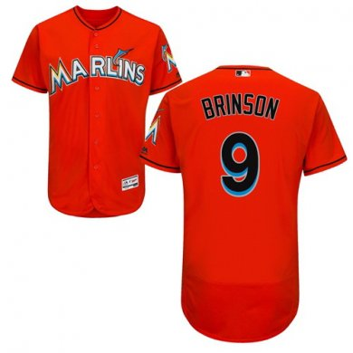 marlins #9 Lewis Brinson Orange Flexbase Authentic Collection Stitched Baseball Jersey
