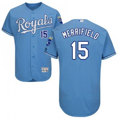 Royals #15 Whit Merrifield Light Blue Flexbase Authentic Collection Stitched Baseball Jersey