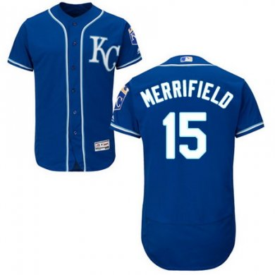 Royals #15 Whit Merrifield Royal Blue Flexbase Authentic Collection Stitched Baseball Jersey