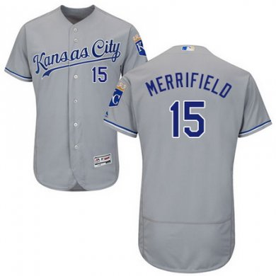 Royals #15 Whit Merrifield Grey Flexbase Authentic Collection Stitched Baseball Jersey