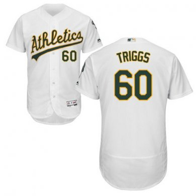 Athletics #60 Andrew Triggs White Flexbase Authentic Collection Stitched Baseball Jersey