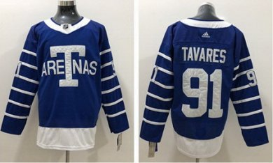 Adidas Maple Leafs #91 John Tavares Blue Authentic 1918 Arenas Throwback Stitched NHL Jersey