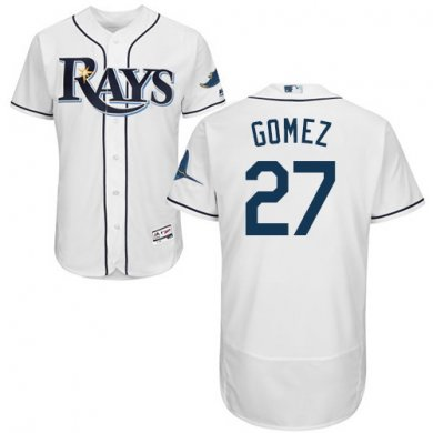 Rays #27 Carlos Gomez White Flexbase Authentic Collection Stitched Baseball Jersey