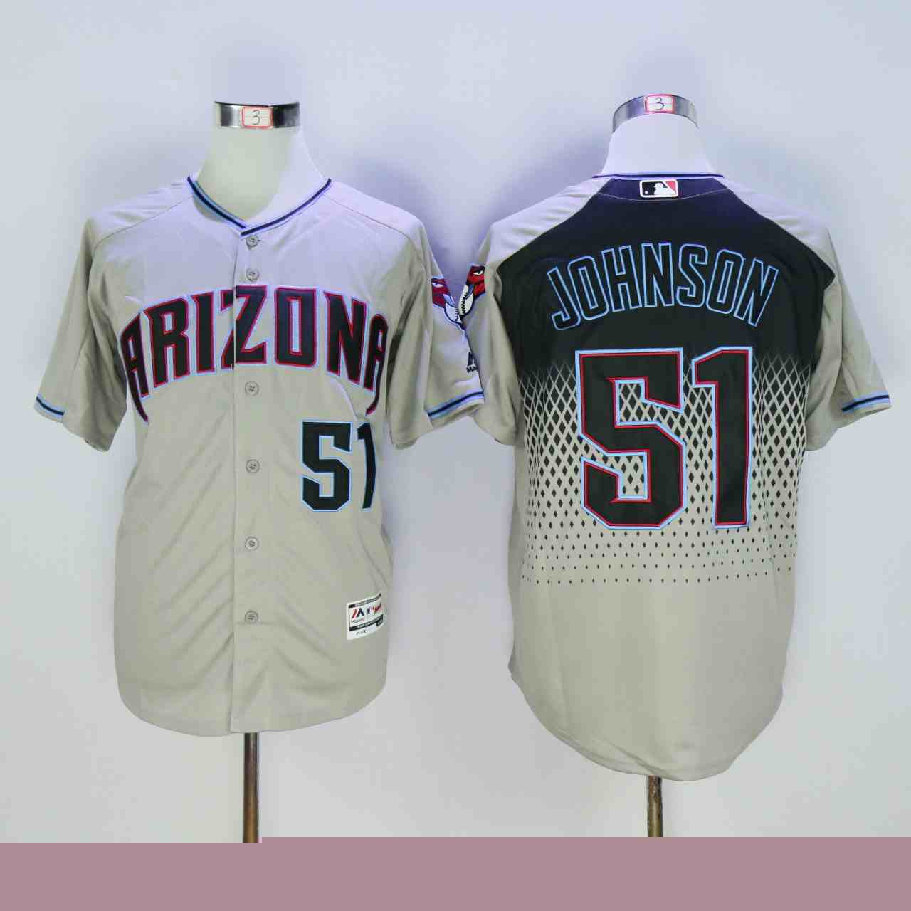Diamondbacks 51 Randy Johnson Gray Teal Flexbase Jersey