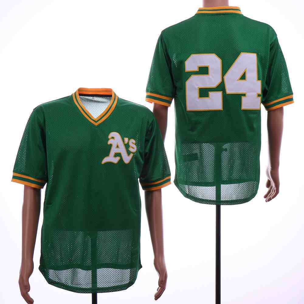 Athletics 24 Rickey Henderson Green Mesh Throwback Jersey