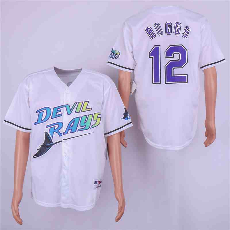 Rays 12 Wade Boggs White Cooperstown Collection Jersey
