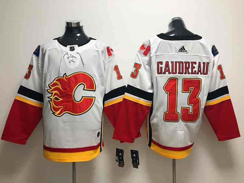 Flames 13 Johnny Gaudreau White Adidas Jersey