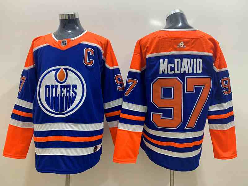Oilers 97 Connor McDavid Blue Adidas Jersey