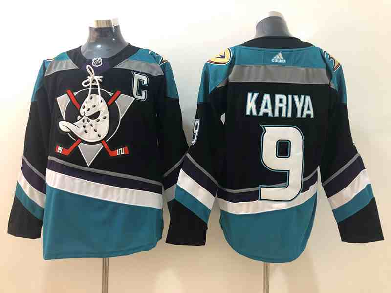 Ducks 9 Paul Kariya Black Teal Adidas Jersey