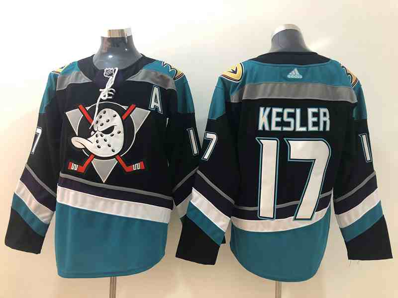 Ducks 17 Ryan Kesler Black Teal Adidas Jersey