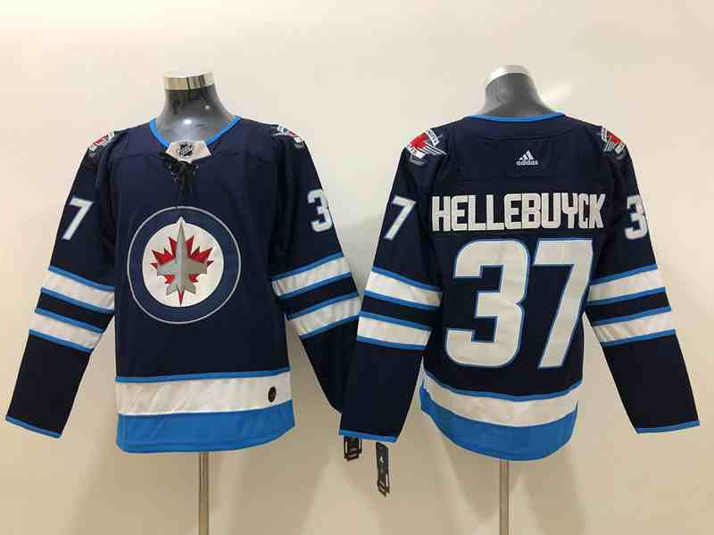 Winnipeg Jets 37 Connor Hellebuyck Navy Adidas Jersey