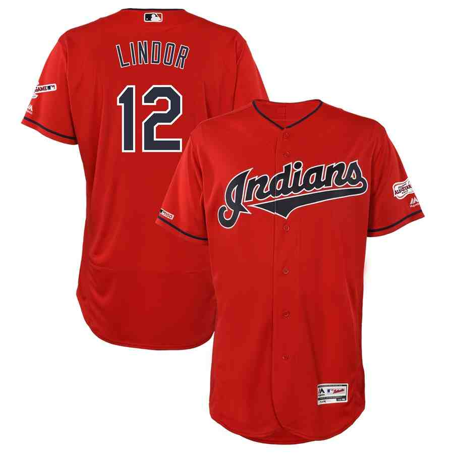 Indians 12 Francisco Lindor Red 150th Patch Flexbase Jersey