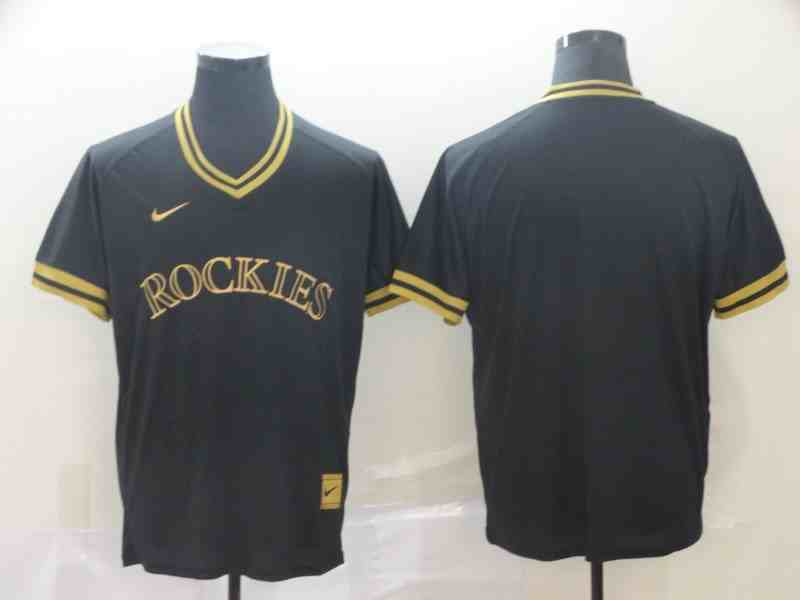 Rockies Blank Black Gold Nike Cooperstown Collection Legend V Neck Jersey