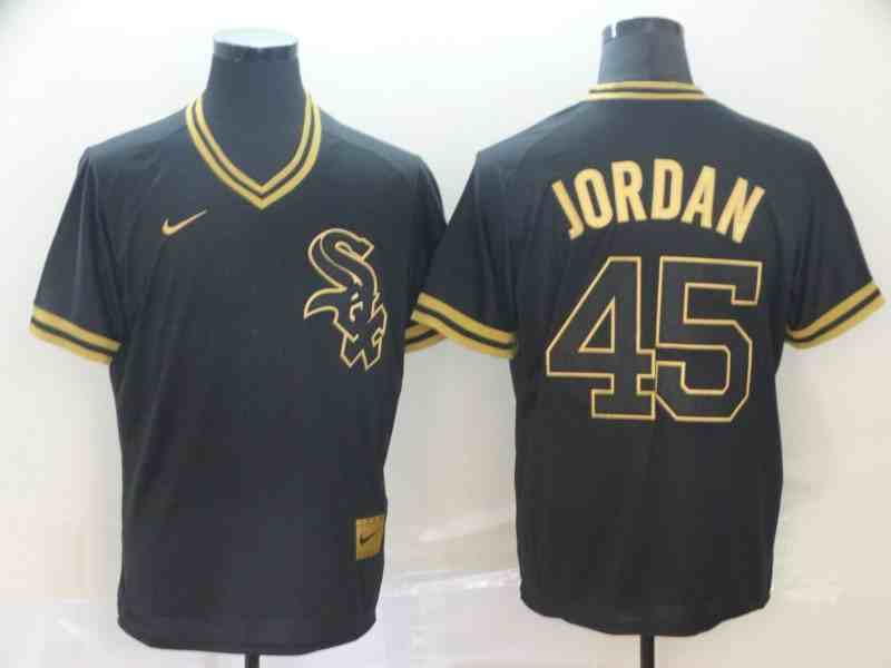 White Sox 45 Michael Jordan Black Gold Nike Cooperstown Collection Legend V Neck Jersey