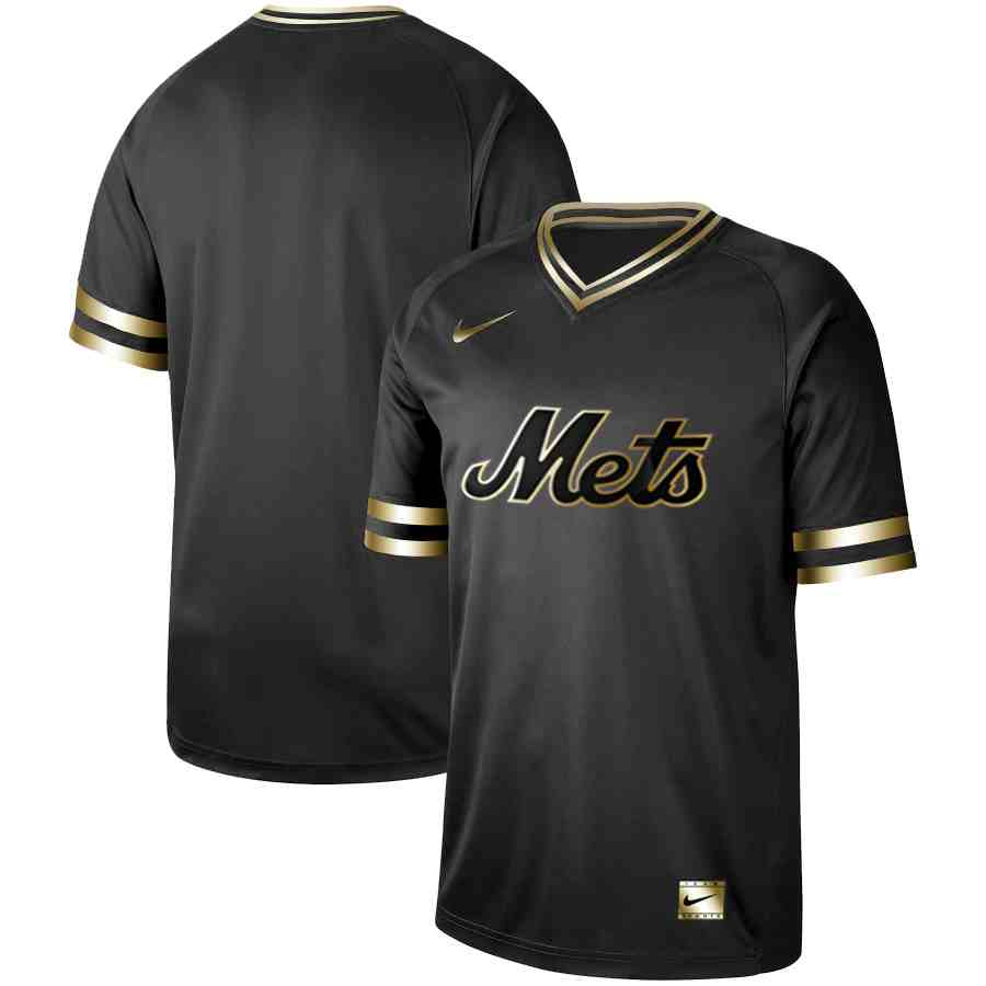 Mets Blank Black Gold Nike Cooperstown Collection Legend V Neck Jersey