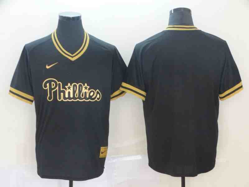 Phillies Blank Black Gold Nike Cooperstown Collection Legend V Neck Jersey