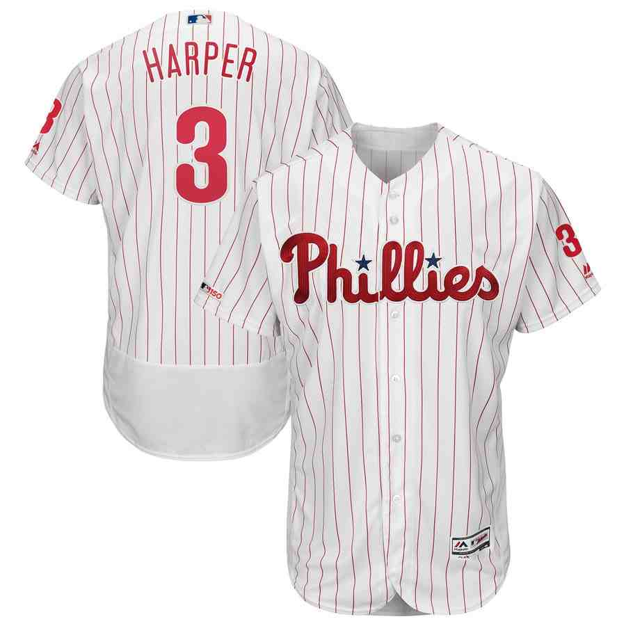 Phillies 3 Bryce Harper White 150th Patch Flexbase Collection