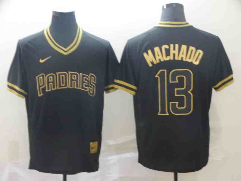 Padres 13 Manny Machado Black Gold Nike Cooperstown Collection Legend V Neck Jersey