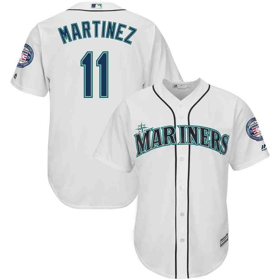 Mariners 11 Edgar Martinez White 2019 Hall of Fame Induction Patch Cool Base Jersey