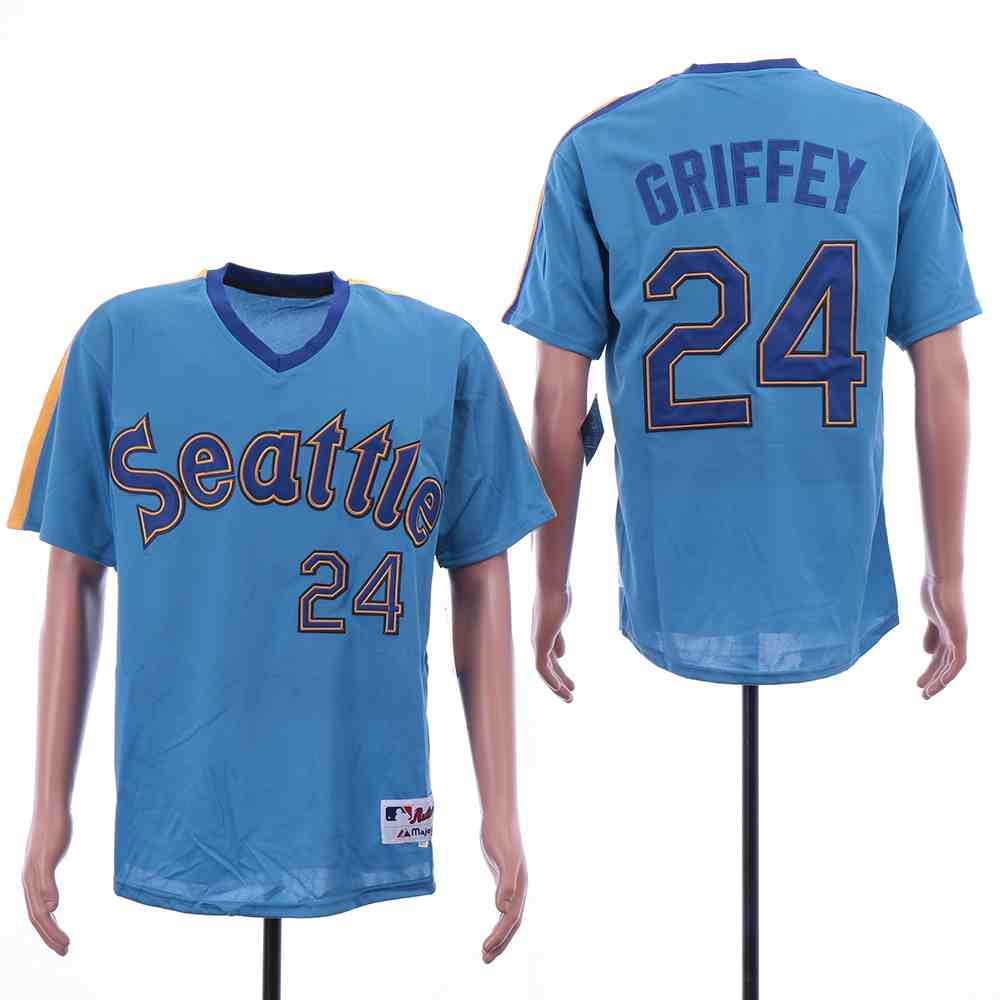 Mariners 24 Ken Griffey Jr. Blue Turn Back The Clock Jersey
