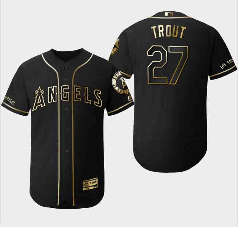 Angels 27 Mike Trout Black Gold Flexbase Jersey
