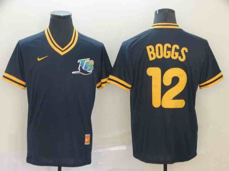 Rays 12 Wade Boggs Navy Throwback Jersey