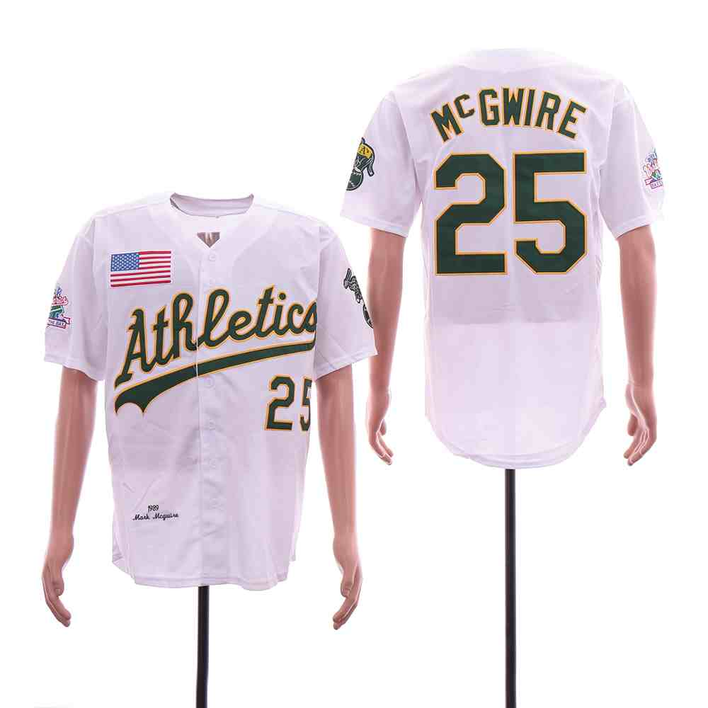 Athletics 25 Mark McGwire White 1989 World Series Cool Base Jersey