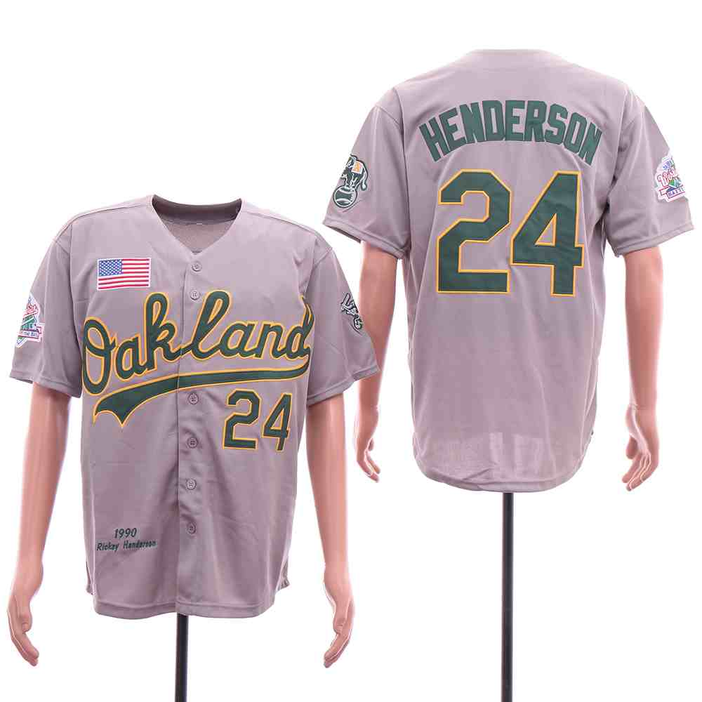 Athletics 24 Rickey Henderson Gray 1989 World Series Jersey