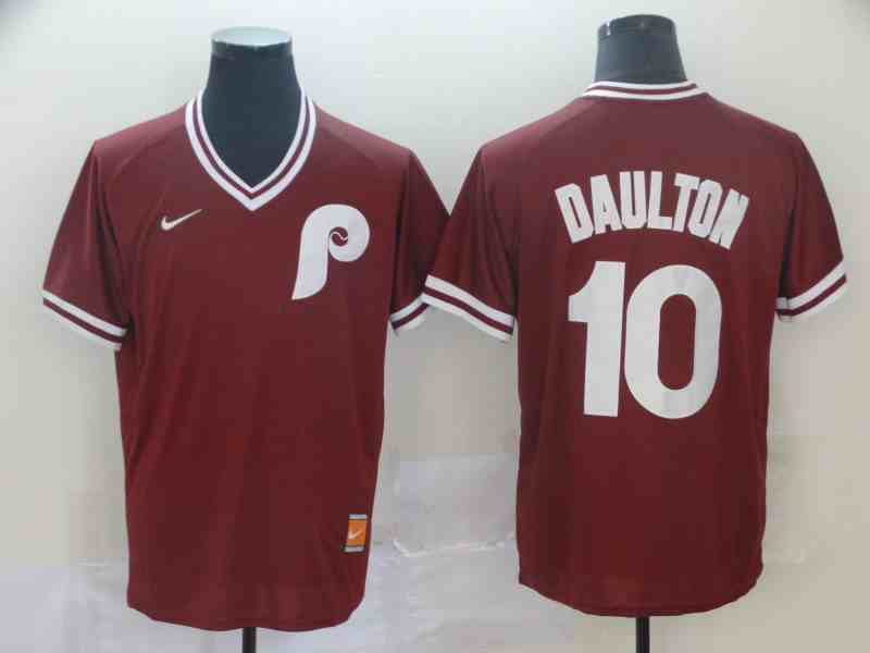 Phillies 10 Darren Daulton Red Throwback Jersey