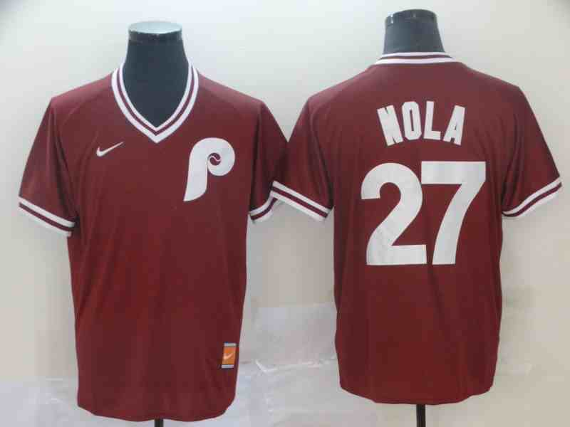 Phillies 27 Aaron Nola Red Throwback Jersey